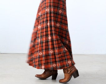 1970s plaid maxi skirt