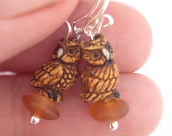 Tawny Screech Owl Dangle Earrings - Tiny - Petite Short back Sterling Silver earwires -  Kid's Girl's Tweens Children's - amber brown gold