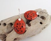 Orange Enamel Silver Dot Earrings