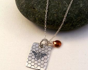 Sterling Silver Honey Bee & Spessartite Garnet Necklace-Nature Inspired-Gemstone-Gift