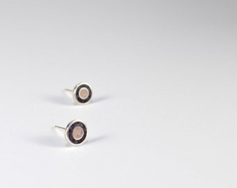 Sterling Silver Earrings, Pink and Purple Circles, Ear Studs, Soft Colors, Modern, Contemporary