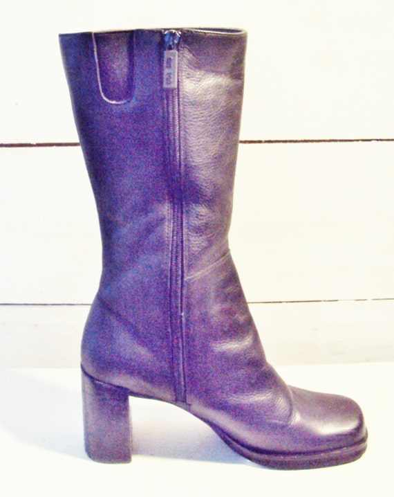 90s mid calf height black leather chunky heel platform boots womens US 7, 7.5 / EURO 37.5 / UK 4.5  calf high on trend