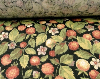 "56"" Wide Vintage Cotton Upholstery Fabric Green Leaves Red Raspberries Outdoor Fabric for Draperies Window Treatments ST"