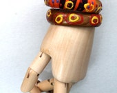 wood bangles-woodland jewelry-fiber/paint decoration on wood bracelets-orange /pink /brown jewelry-hipster bracelet set-woodland handmade -
