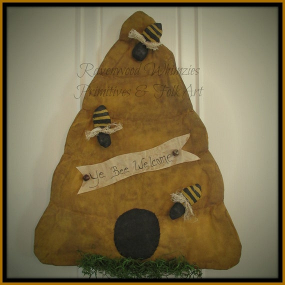 Summer Beehive, Spring Beehive, Bees, Primitive Summer, Primitive Bees, Primitive Bee Skep, Bee skep, bumble bee, prim wall door
