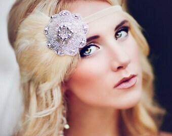 Wedding Accessories, Feather Fascinator, Bridal Headband, Silver Beaded headband, 1920s Headband, Silver Deco Headband, Flapper Headband
