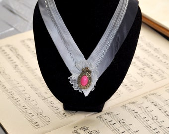 Victorian handmade Collar Necklace made of vintage ties in hues of grey - for an elegant romantic look