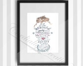 "Girl's Nursery Art watercolor illustration featuring verse 1 Peter 3:3-4 about Adornment, digitally printed 8x10"", scripture art"
