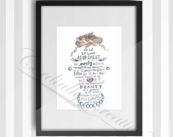 """Girl's Nursery Art watercolor illustration featuring verse 1 Peter 3:3-4 about Adornment, digitally printed 8x10"""", scripture art"""