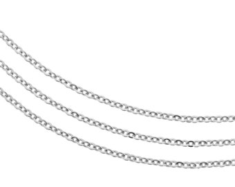 Sterling Silver 1.3x1mm Flat Cable Chain - 5ft  Strong and Sturdy 20 gauge wire unfinished chain Foot chain (2497-5)/1