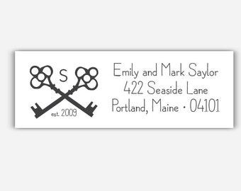 Classic Collection - 36 Couple Return Address Labels - Keys Monogram