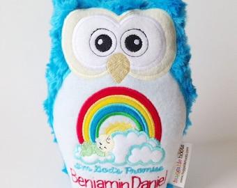 Stuffed Owl in Rainbow Baby - Stuffed Animal - Rainbow Baby Gift - Personalized Baby Gift - Baby Announcement - Newborn Baby - Keepsake Toy