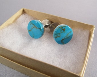 Round Stud Cufflinks SHIPS IMMEDIATELY Handmade Round Composite Turquoise Blue Cuff Links Birthday Gifts for Him Fathers Day Rustic Wedding