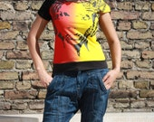 Asymmetric Vintage Dope T Shirt with one open sleeve - Size can fit for S and M