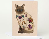 Tattoo Crafty Cat Greeting Card - Knitting, Sewing, Crafts