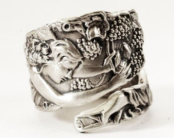 Goddess Ring, Grape Picker Godess Ring, Sterling Silver Spoon Ring, Wine Gifts, Goddess Jewelry, Handmade Jewelry Gift, Adjustable Ring, 973