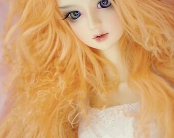 """10in"""" Long Light Orange Tangerine Tibetan Mohair Wavy Wig for Volks BJD SD Dolls"""