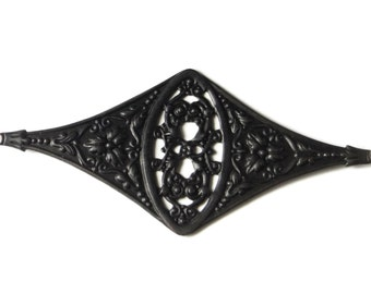 Black Brass Filigree Bracelet Focal Stamping from Vintage Tooling Perfect for Steampunk Art Made in the USA Brass