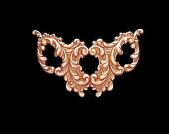 Copper Rose Gold Brass Stamping Victorian Style 3 Opening Baroque Leafy Heirloom Quality Focal for Jewelry Made in USA Dr Brassy Steampunk
