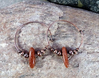 Small Copper Hoops with Sunstone and Copper Beads.  Modern, Minimalist
