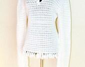 Bohemian White Blouse, Crochet Woman Fashion, Hippie Inspired, Hand Made
