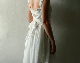 ON SALE Short white silk and cotton wedding dress with lace up back 20% off