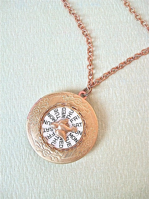 Brass Locket Necklace - - Watch Mechanics Bird Necklace - Neo Victorian Era ready to ship
