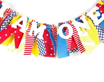 Red, Yellow and Blue Birthday Banner - Highchair Banner - Party Decor - Banner - Garland - Photoshoot Prop