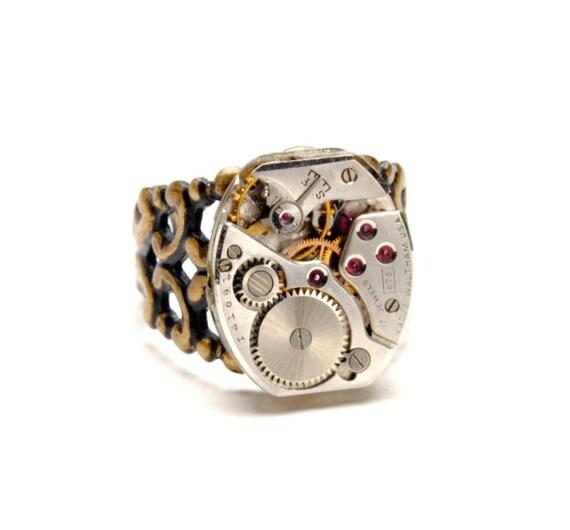 WALTHAM Steampunk Ring MENS Steampunk Jewelry Vintage Watch Ring Men Women Antique Brass Ring Steam Punk Jewelry By Victorian Curiosities