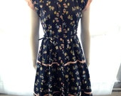 RESERVED FOR RACHEL Adorable Novelty 1940s Cotton Day Dress