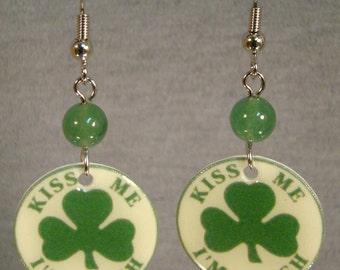 Kiss me I'm Irish Shamrock Dangle earrings