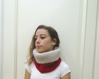 Knitted RED-OATMEAL COWL,neckwarmer,scarf