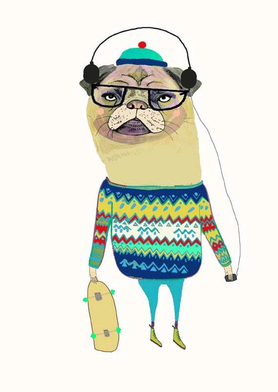 Awesome Pug. illustration - pug - art print - wall decor - kids art - childrens wall art.