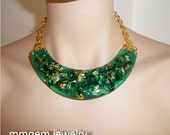 Emerald resin necklace gold flakes boho minimalist jewelry deep green statement choker