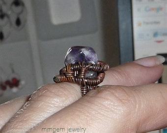 Copper ring, wire wrapped, amethyst, purple, rough, oxidized, patinated, boho, hippie, rustic, crystal, beaded, small, bohemian