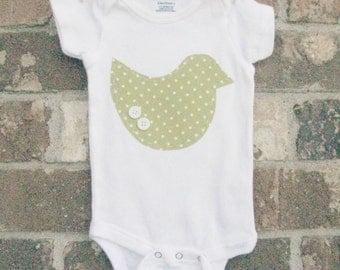 3-6 Month Short Sleeve Birdie Onesie - Polk-a-Dot Spring Green