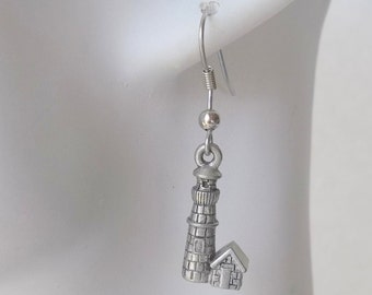 Lighthouse Charm Earrings in Silver Pewter