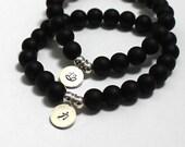 Mala Bracelet Inspirational Lotus Strength Sterling Silver Onyx Chakra Bracelet, Yoga Mala Beads, Unique Gift 2016 Trends Couple Bracelet