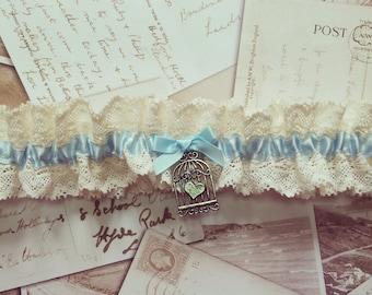 Vintage Lace Garter - wedding garter, bridal garter, lace garter, blue garter, vintage garter, luxury garter, keepsake, heirloom, lingerie