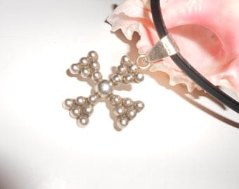 Maltese Cross Taxco Sterling Silver On Heavy Leather Cord Very Striking Masculine Detail