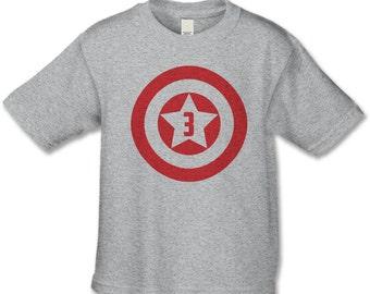 3rd Birthday Shirt - American Superhero Birthday T-Shirt - Retro Superhero Birthday Party - Birthday Shirts - Choose your number