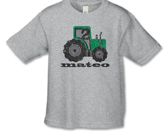 2nd Birthday Shirt -Tractor Theme Birthday Party -Distressed Graphic - Personalized Tractor Number 2 Shirt - Farm Party - Choose your number