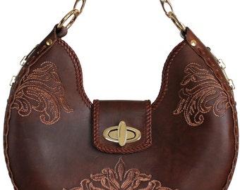 Tooled Leather Handbag - Turner