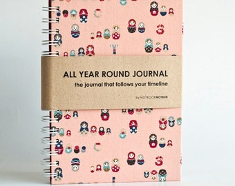 Weekly Planner A5 Size (Undated) All Year Round Timeless Journal -  Matryoshka In Peach