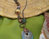 Asymmetrical Necklace Old Coin and MIxed Beads Turquoise Copper Pink and Yellow