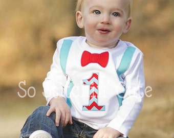 Birthday Boy Suspenders and Bow Tie Shirt/Onesie