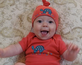 Pink Girl baby Organic Cotton Baby Layette for Infant Girl, American Apparel Hand Painted Baby Onesie and Hat Set with Turtle on Salmon Pink