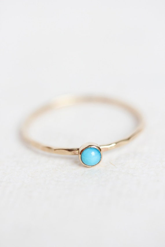turquoise gold ring stackable birthstone ring 14k gold thin