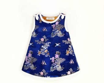 Baby girl electric blue Japanese inspired party dress
