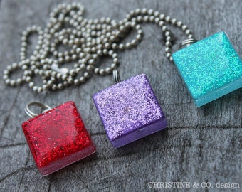 Hand Painted Birthstone Sparkle  Glass Necklaces